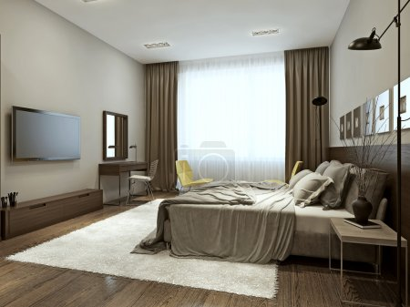 Photo for Bedroom interior in contemporary style, 3d images - Royalty Free Image