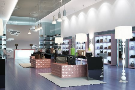 Photo for Interior of a modern store. 3d images - Royalty Free Image