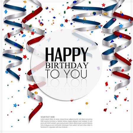 Illustration for Birthday card with curling stream, confetti and birthday text. - Royalty Free Image
