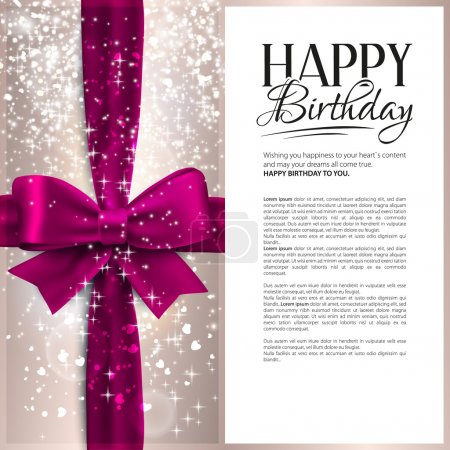 Illustration for Vector birthday card with pink ribbon and birthday text. - Royalty Free Image