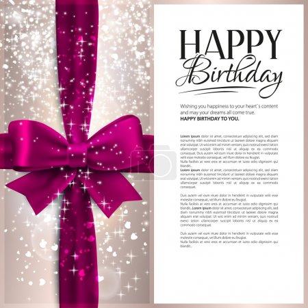 Illustration pour Carte d'anniversaire vectorielle avec ruban rose et texte d'anniversaire . - image libre de droit