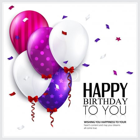 Illustration for Birthday card with balloons and confetti. - Royalty Free Image