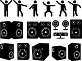 Speakers and people dancing