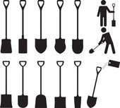 People with shovels illustrated on white
