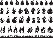 Set of black flames illustrated on white background