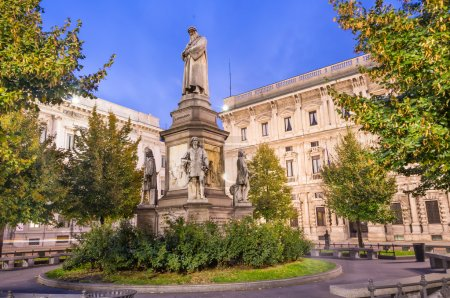 Photo for Great view of Leonardo monument in Piazza della Scala at dawn in Milan - Royalty Free Image