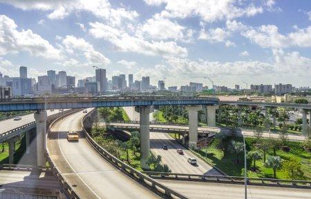 Miami downtown skyline and freeways