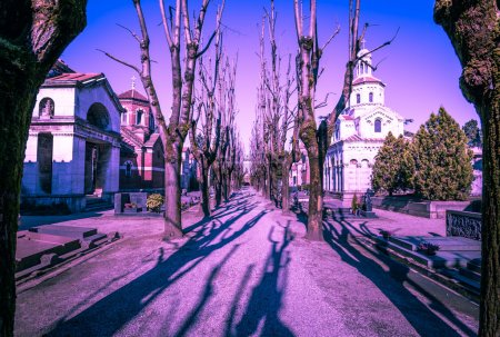 Monumentale cemetery in Milan, with ghostly look