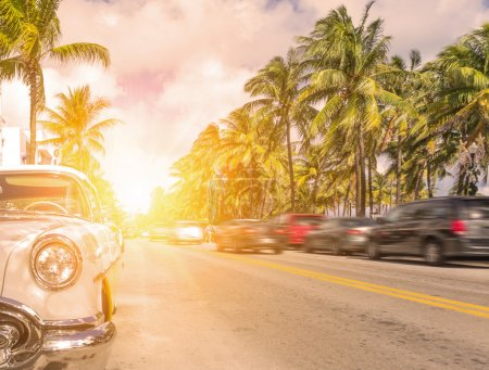 Photo for Miami, ocean drive at sunset - Royalty Free Image
