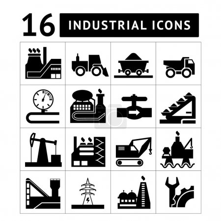 Industrial black icons set
