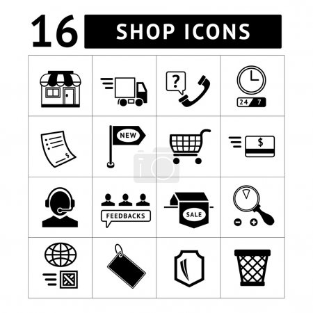 Illustration for Shopping and e-commerce icons set isolated on white - Royalty Free Image