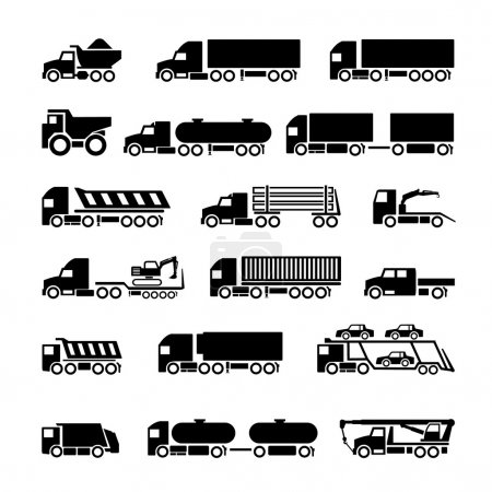 Trucks, trailers and vehicles icons set