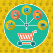 Abstract internet shopping cart flat concept. Add ...