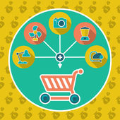 Abstract internet shopping cart flat concept. Add to cart illustration