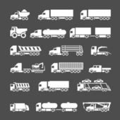 Set icons of trucks trailers and vehicles