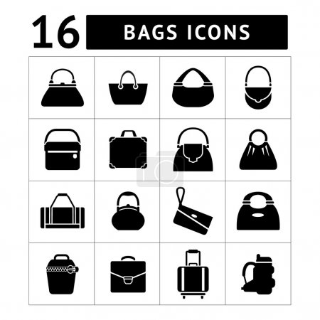 Illustration for Set icons of bags isolated on white - Royalty Free Image