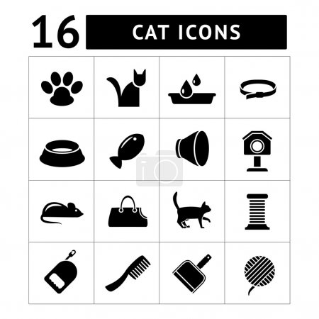 Set icons of cats and cat accessories