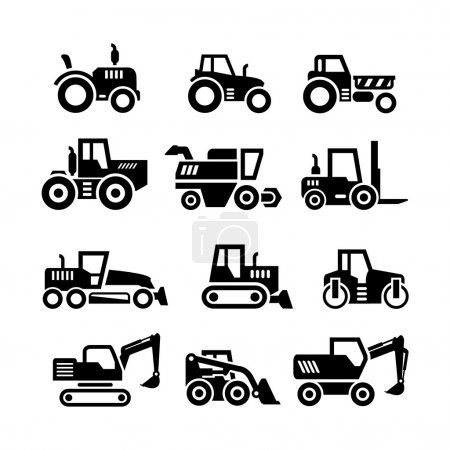 Illustration for Set icons of tractors, farm and buildings machines, construction vehicles isolated on white - Royalty Free Image