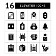 Set icons of elevator and lift isolated on white...