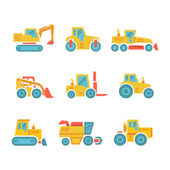 Set modern flat icons of tractors farm and buildings machines construction vehicles