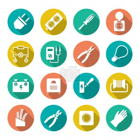 Set round flat icons of electricity