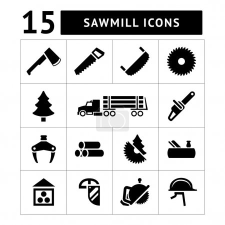 Set icons of sawmill, timber, lumber and woodworking