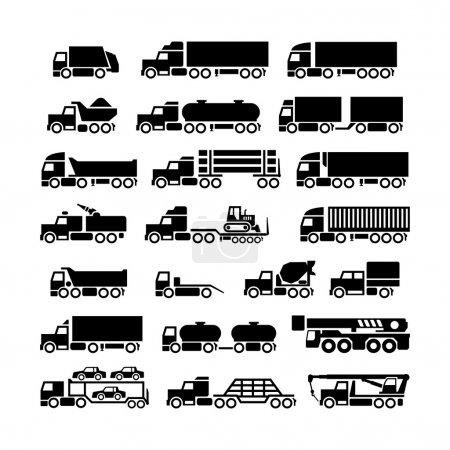Illustration pour Set icônes de camions, remorques et véhicules isolés sur blanc - image libre de droit