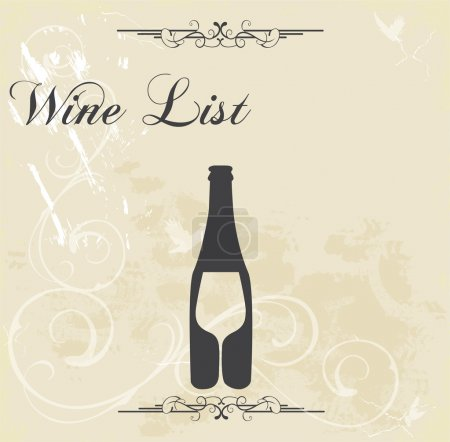 Wine list. Sample text. Pouring wine concept