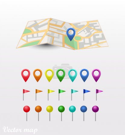 Vector map icon with gps icon set