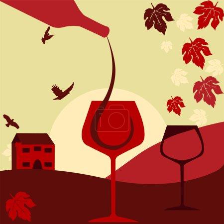 Illustration pour La carte des vins. Exemple de texte - image libre de droit