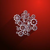 Abstract Paper Vector Cogs Gears on Red Background