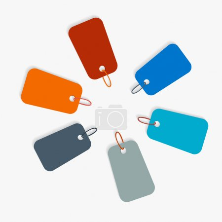 Colorful Retro Labels, Tags with Cords