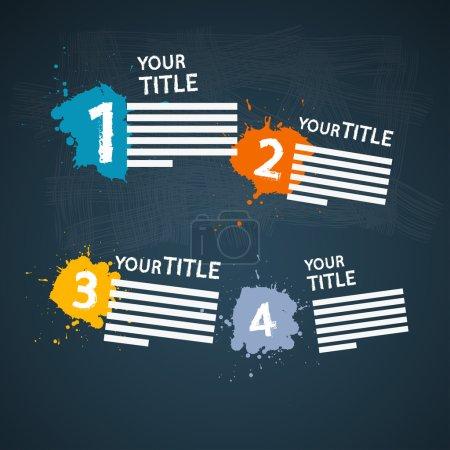 Illustration pour Un, deux, trois, quatre, vecteur étapes pour le tutoriel, infographie - image libre de droit