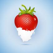 Fresh Strawberry Dipped In Ice Cream