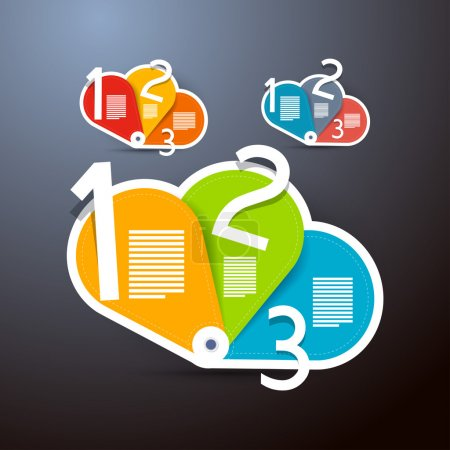 Illustration pour Un, deux, trois, étapes de vecteur pour le tutoriel, infographie, 3 séries - image libre de droit