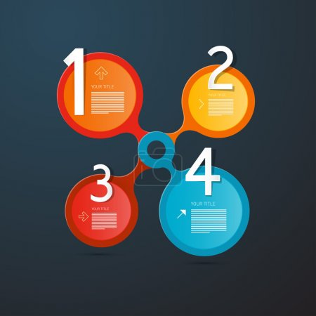 Illustration pour Un, deux, trois, quatre, vecteur étapes pour infographie tutorial, rétro - image libre de droit
