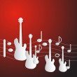 Abstract Red Music Background. Guitars and Staff M...