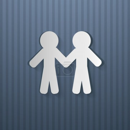 People Holding Hands Cut From Paper, Blue Cardboar...