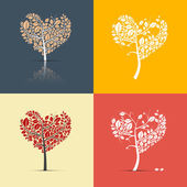 Abstract Heart Shaped Trees on Retro Background