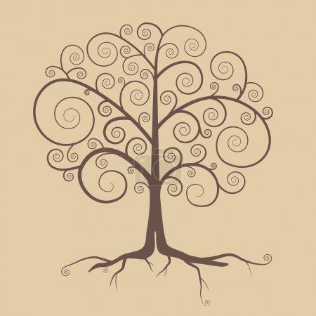 Streszczenie Retro drzewo ilustracja