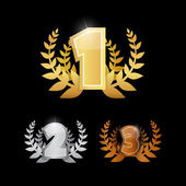 Gold Silver Bronze - First Second and Third Place Vector Icons Set