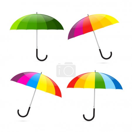 Colorful Umbrellas Set Illustration