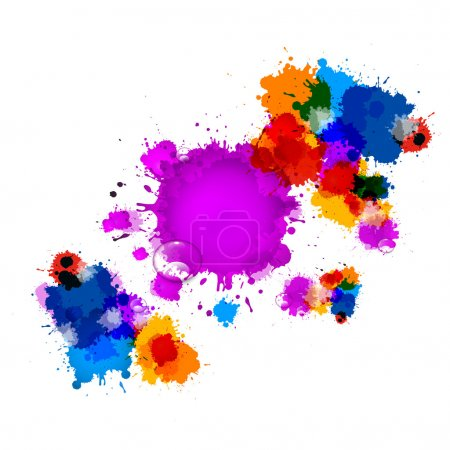 Colorful Vector Stains, Blots, Splashes Background with Water Drops