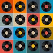 Retro Vintage Vector Vinyl Record Disc Set on Colorful Background