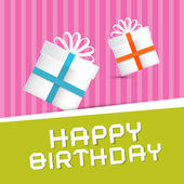Retro Happy Birthday Theme Present Boxes on Colorful Recycled Paper Background