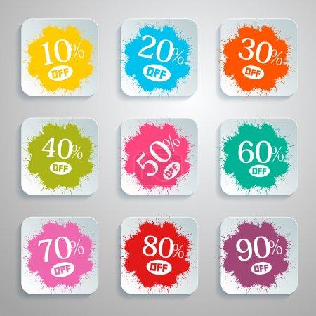 Discount Vector Splash - Paper Labels Set