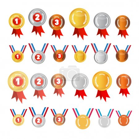 Vector Medals Set: Gold, Silver, Bronze, First, Second, Third