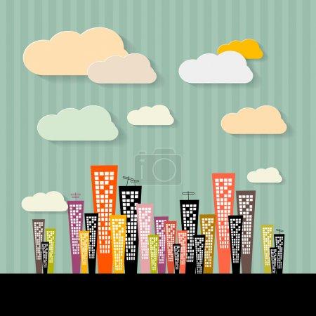 Illustration pour Illustration abstraite colorée de bâtiments sur fond rétro papier - image libre de droit