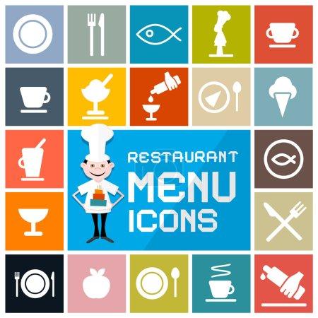 Colorful Flat Design Vector Restaurant Menu Icons Set