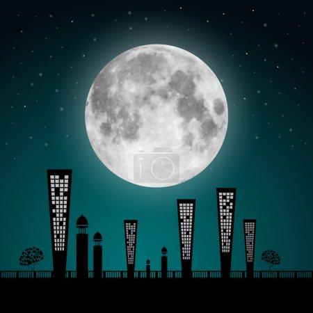 Illustration pour Illustration de paysage de pleine lune vectorielle abstraite - image libre de droit